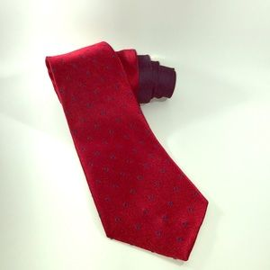 Tommy Hilfiger Red with Navy dots 100% silk tie